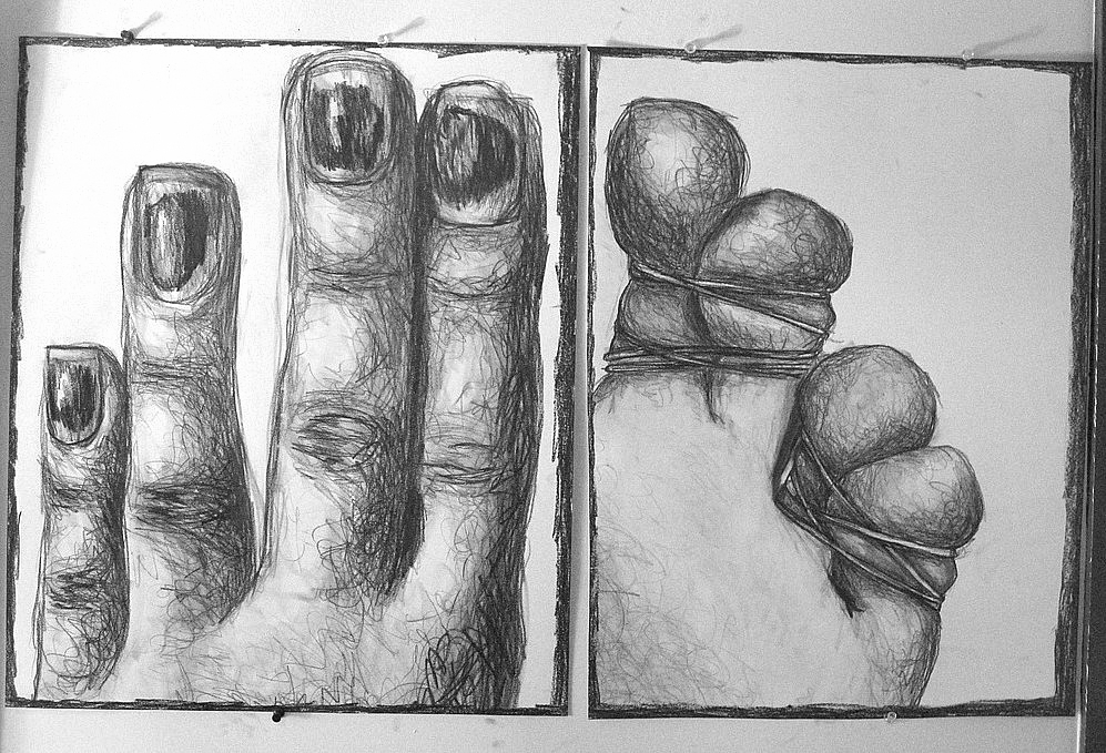 A graphite diptych which served as the inspiration for the hands and feet portion of her senior thesis show.