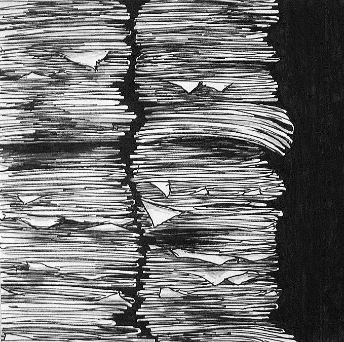 """From a series entitled """"Stacked and Stockpiled"""" in which Mara explored drawings which included large repetition of similar objects."""