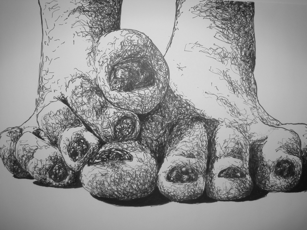 One of her drawings from her senior thesis, examining the personification of individual toes and their personalities.
