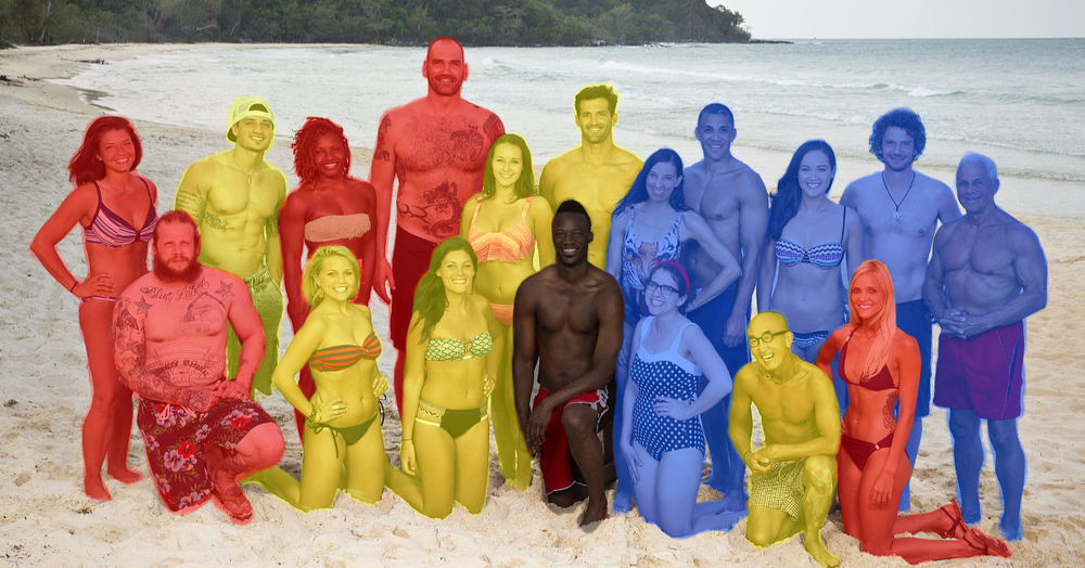 The tribal divisions, broken down by tribe color (omitting the eliminated Darrell): Brawn (Red), Beauty (Yellow), and Brains (Blue).