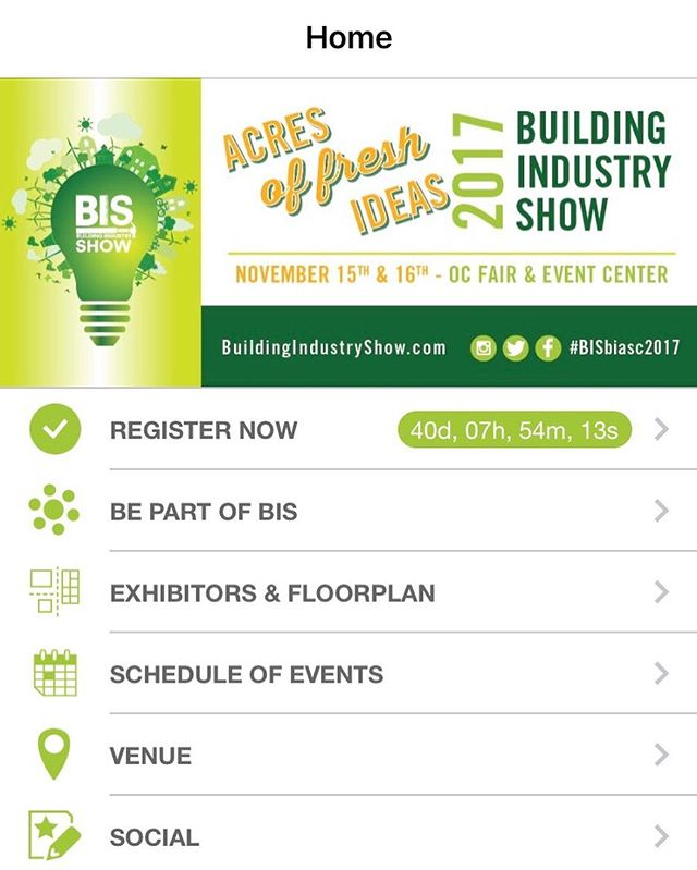 "Did you know that BIS has an app?! Follow the latest happenings and catch the event details by downloading our ""Building Industry Show"" app from the App Store. 💡 #BISbiasc #biasc"