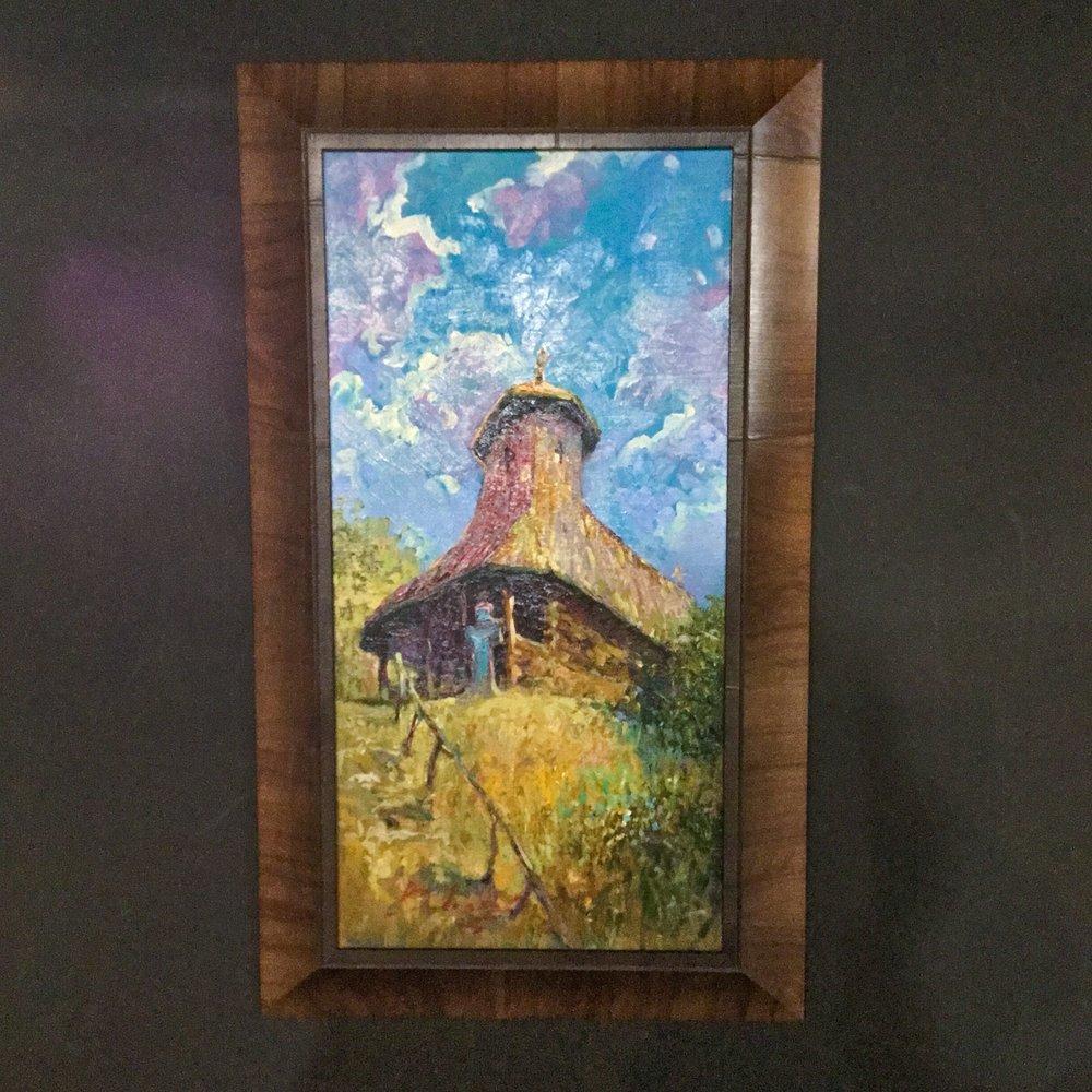 Olive wood veneer frame