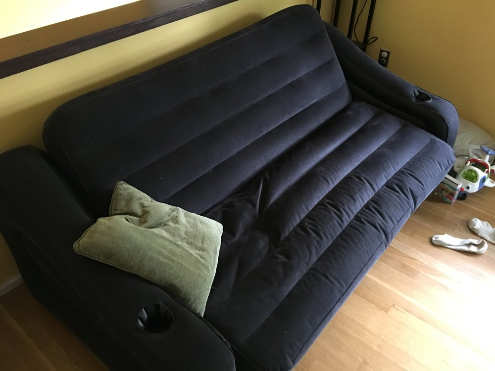 An inflatable couch from Amazon is neither as glamorous nor comfortable as one might imagine. Or maybe it is.