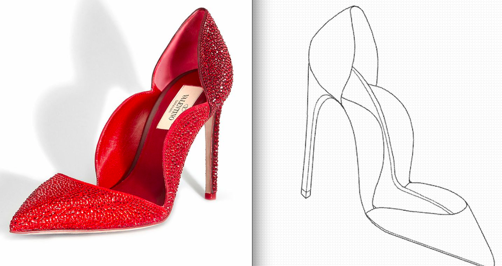 Shoe design [Left]                       Patent Application Drawing [Right]