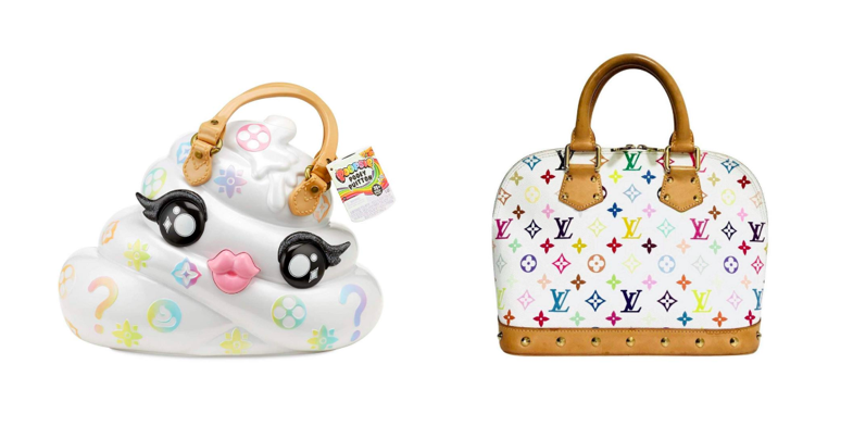 MGA's Poopsie Pooey Puitton Left and Louis Vuitton Takashi Murakami designed bag Right