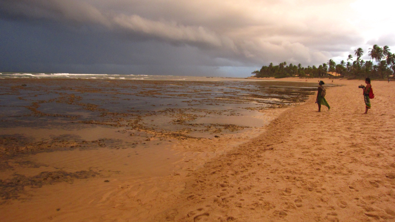 Praia do Forte, Bahia, Brazil  I remember this day so vividly. We arrived when the sun was shinning. Walked across the reefs and stones to get to the waves. It was a surreal experience. It felt like I was walking across the ocean. Then when the sun was setting a huge storm was coming in and the dark clouds creeped in, making the ocean look an emerald green. If I close my eyes I can still feel the warm breeze and the smell of the sea.