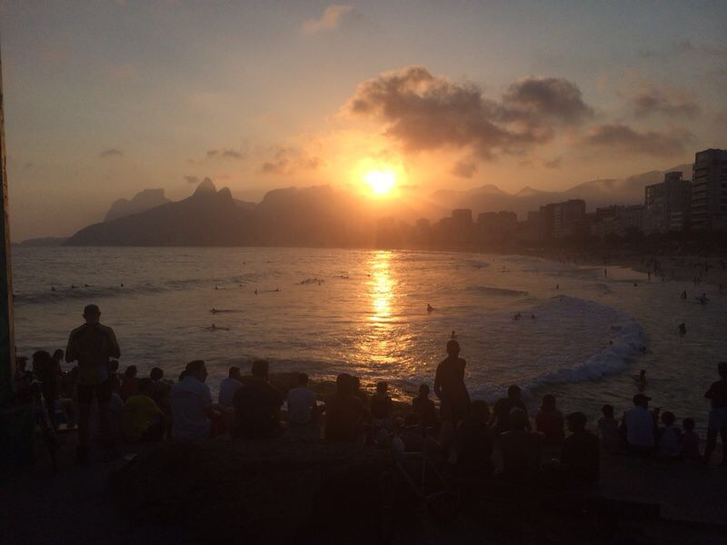 Ipanema sunset. Everyone applauds at the end of the day for Mr. Sun!