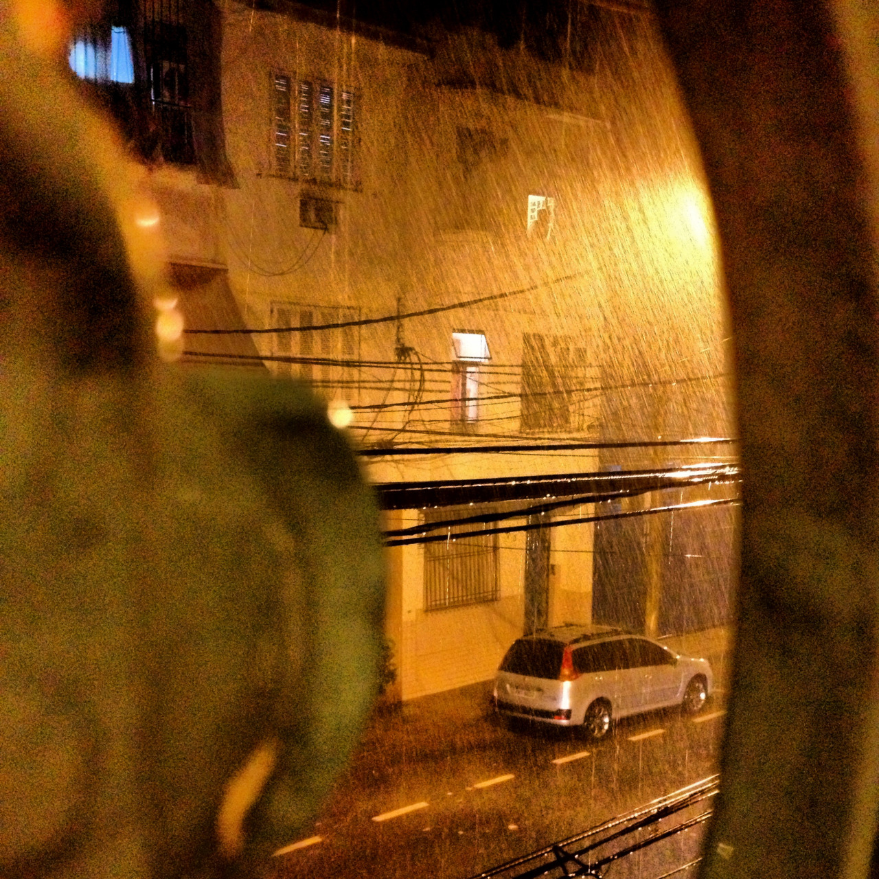 The beautiful rain at night from my window.