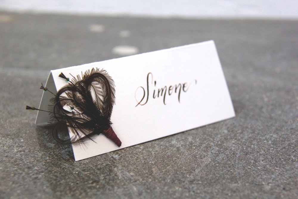 Masquerade Place Cards With Custom Calligraphy