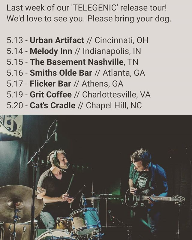 The 'TELEGENIC' tour is approaching the end. Come out and help us party in these last few cities!  #thosemanicseas #tour #indierock #cincinnati #indianapolis #nashville #atlanta #athens #charlottesville #chapelhill #urbanartifact #melodyinn #TheBasement #SmithsOldeBar #FlickerBar #Grit #CatsCradle #rvamusic #touring #ludwig #fender #zildjian #nashvilleindie #postrock #mannequin #telegenic #tms