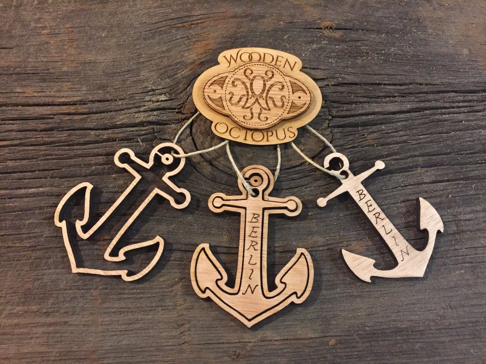 Three options for this laser-cut wooden anchor ornament.