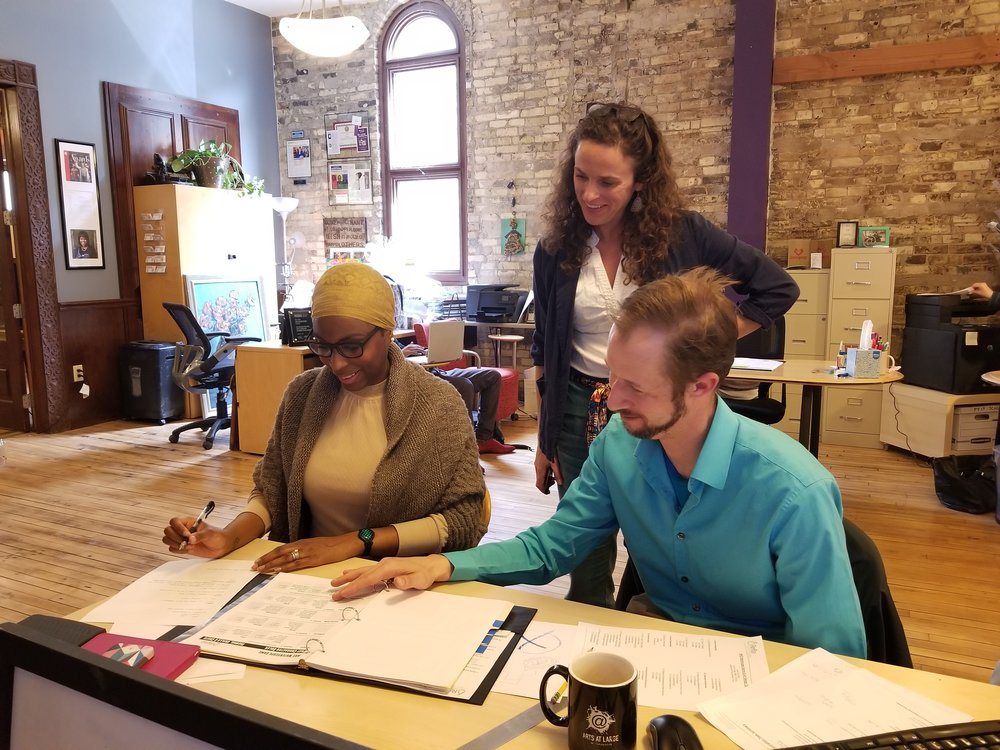 Artists Dionna Hayden and Lauren Brown discuss strategy with Michael Timm