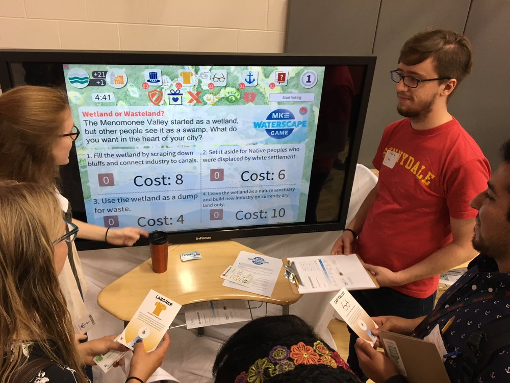 Our team proudly presents the demo of the MKE Waterscape Game at the Green Schools Conference on June 14, 2018. Dozens of people experienced a taste of this unique educational engagement tool.