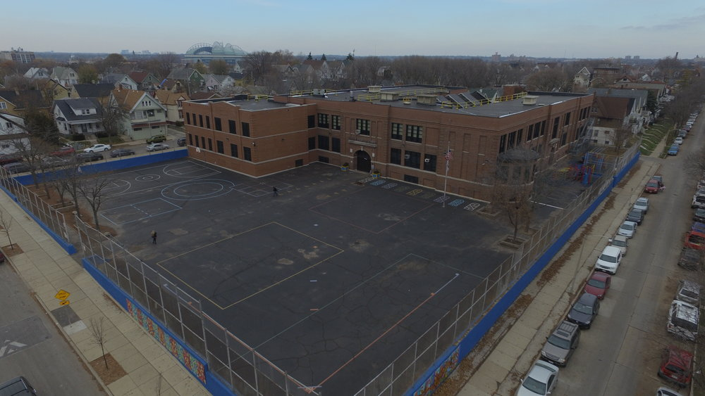Aerial view of Doerfler Elementary in 2018, with Miller Park in the background. Reflo drone photo by Michael Snowden