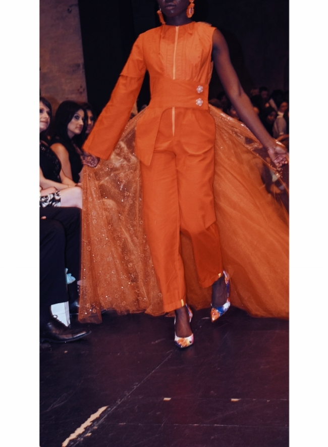 Orange Jumper on the Black Hearts Ball Runway Spring 2018