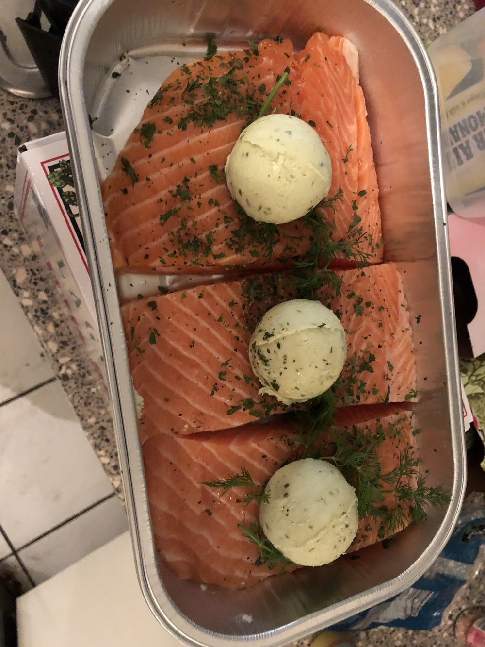 Salmon w/ Pesto Butter