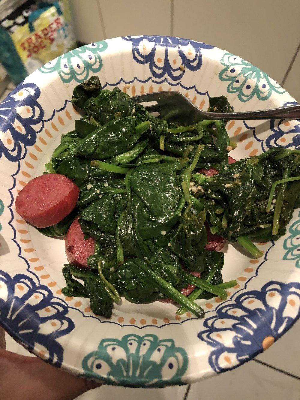 Spinach & Kielbasa