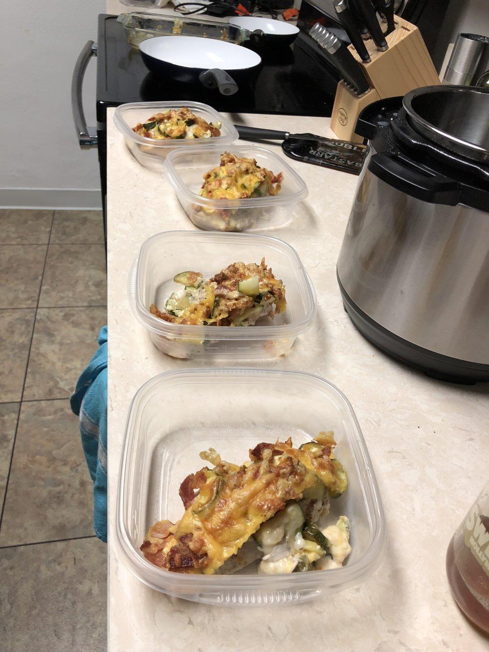 Zucchini Mozzarella Cheddar Chicken Bacon Bake