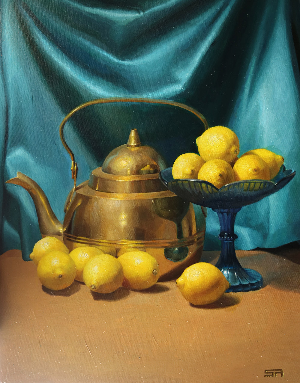 Yellow lemons, Gold kettle