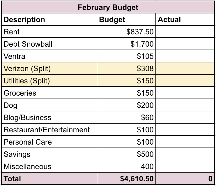 February Budget | Roaring Twenty Somethings