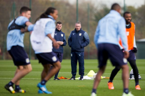 Roy Keane watches over Aston Villa training