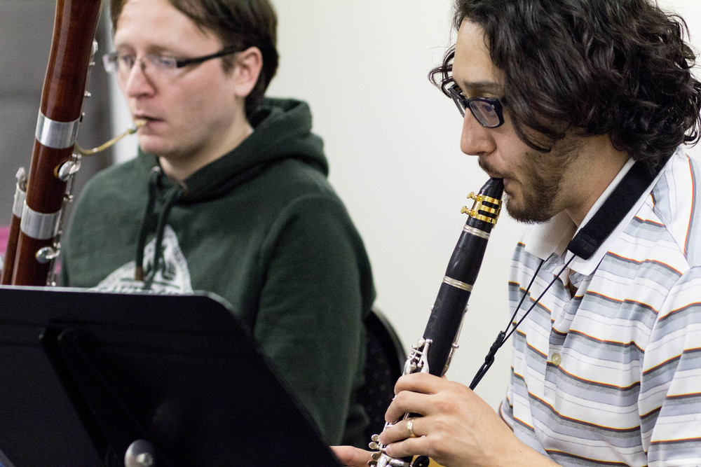 Copy of Mike Macaulay (bassoon) and Anthony Thompson (clarinet) working hard in rehearsal.