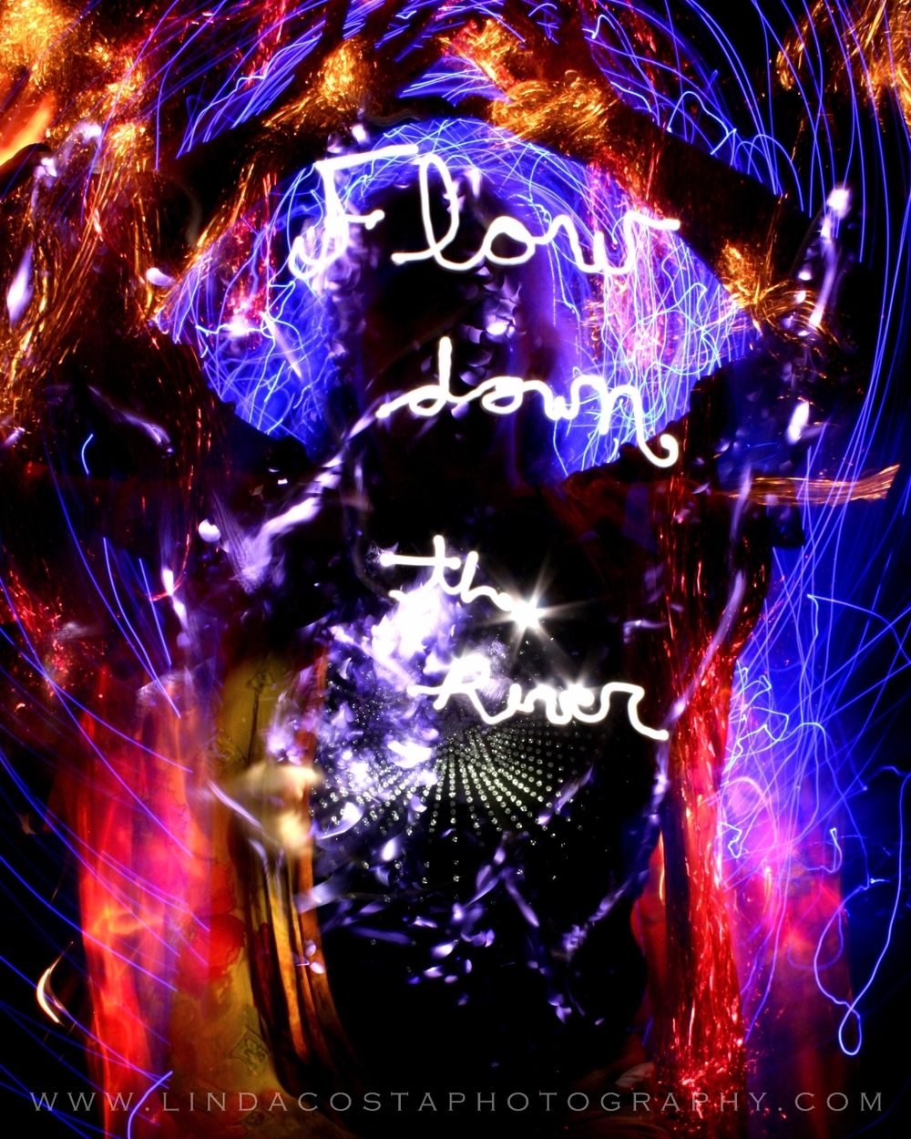 """Flow Down River"" a participant's intention written and painted in light by me."