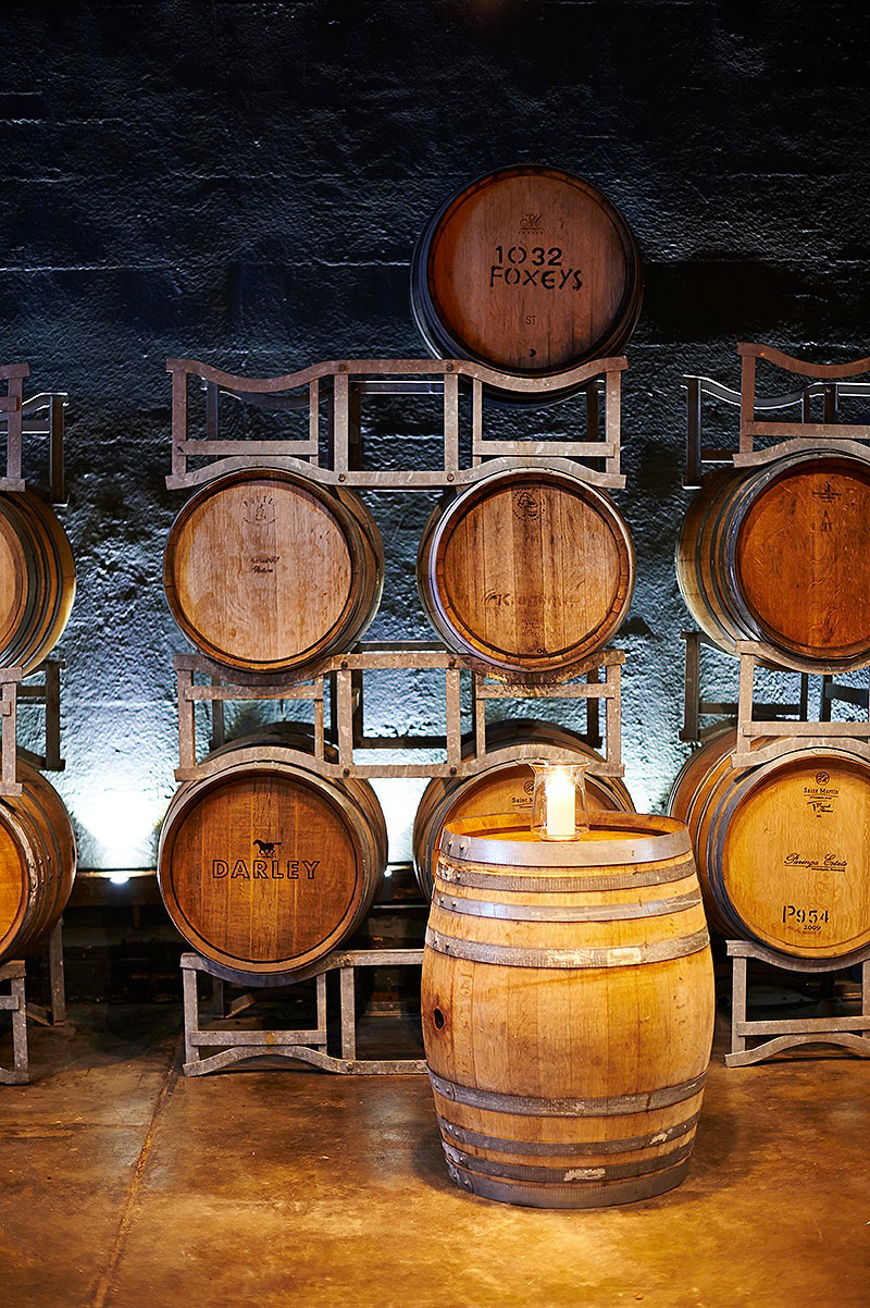 Wine barrels in The Barrel Room at The Epicurean Red Hill