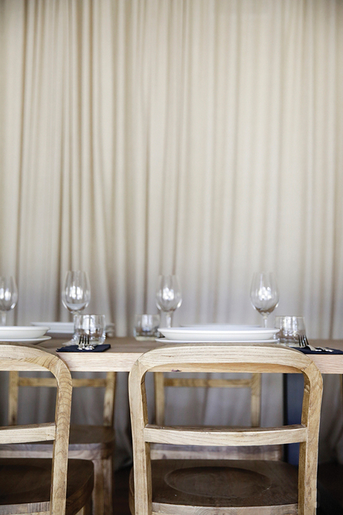 TABLE SETTING IN THE PRIVATE DINING ROOM