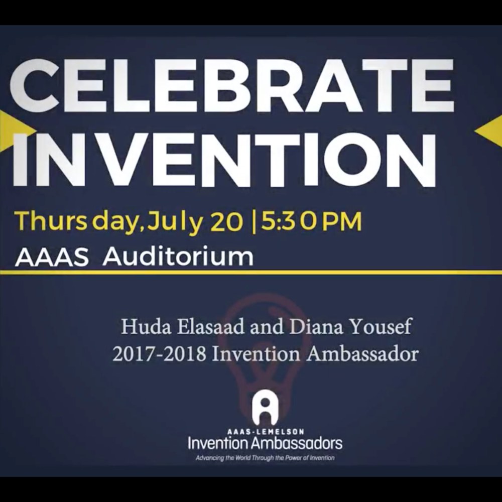"AAAS-Lemelson Invention Ambassadors Program JUL 2017   change:WATER's CEO and CTO discuss their work at the annual ""Celebrate Invention""   CEO Diana Yousef and CTO Huda Elasaad shared their stories on the challenges they face, and the ways in which their experiences drive their work and inventions at the 4th Annual ""Celebrate Invention"" event."