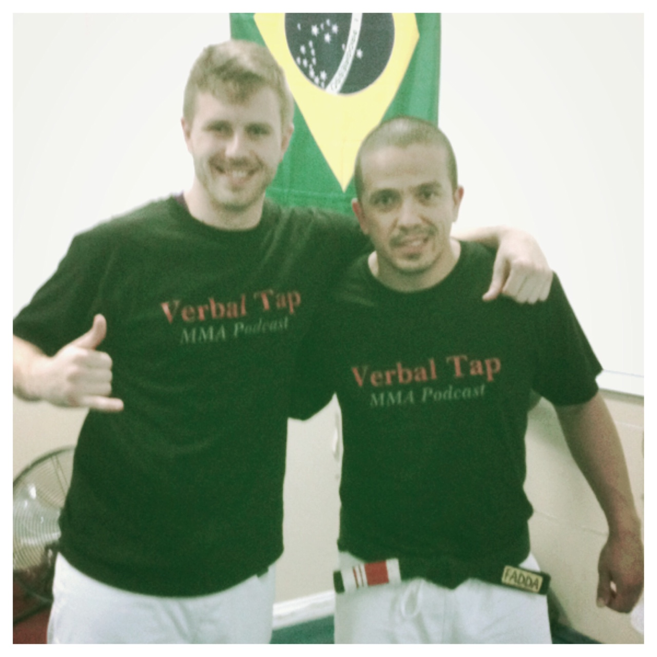 Verbal Tap Co-Host Kevin, and his Instructor Andrew rocking some verbal tap shirts to start training.