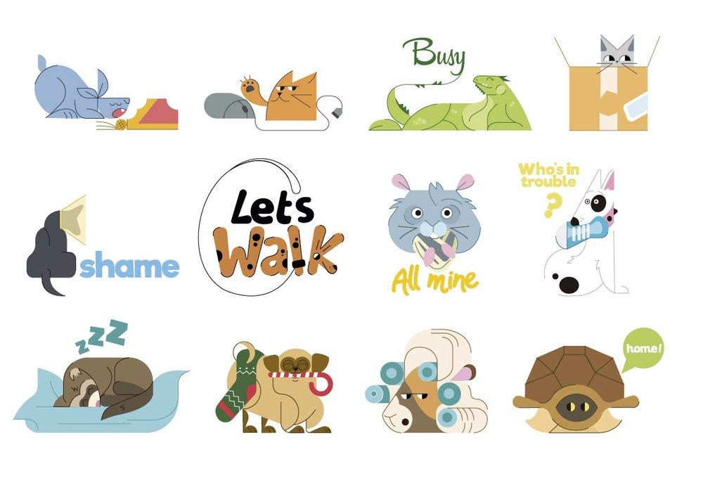 stickers, jaime hayde, ilustracion, color, vectors, dog, cat, hamster.jpg