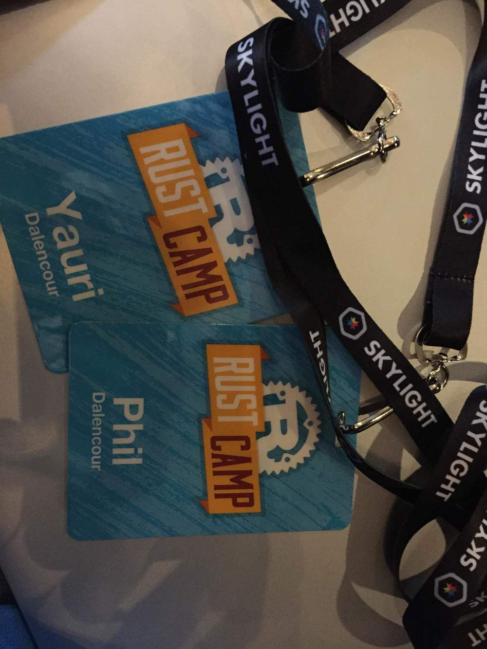 My husbands's and my badges we received @Rust Camp, an open source programming conference we attended  UC Berkeley