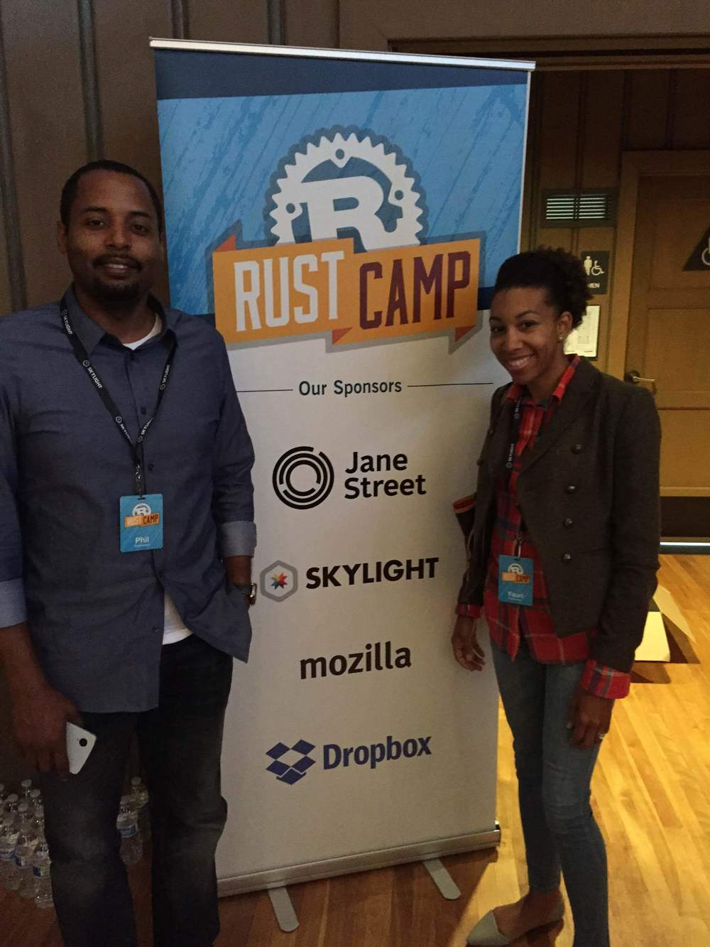 My hubby and I @RustCamp at UC Berkeley, an open source programming language conference.