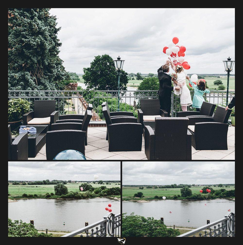 Aufstieg der Luftballons während der Hochzeit