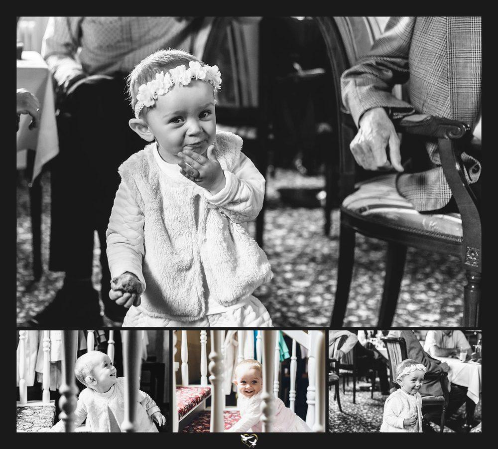 Kind während Hochzeitsfeier