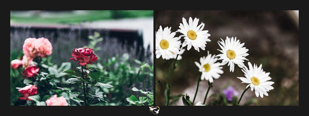 Blumen an der Hochzeitslocation
