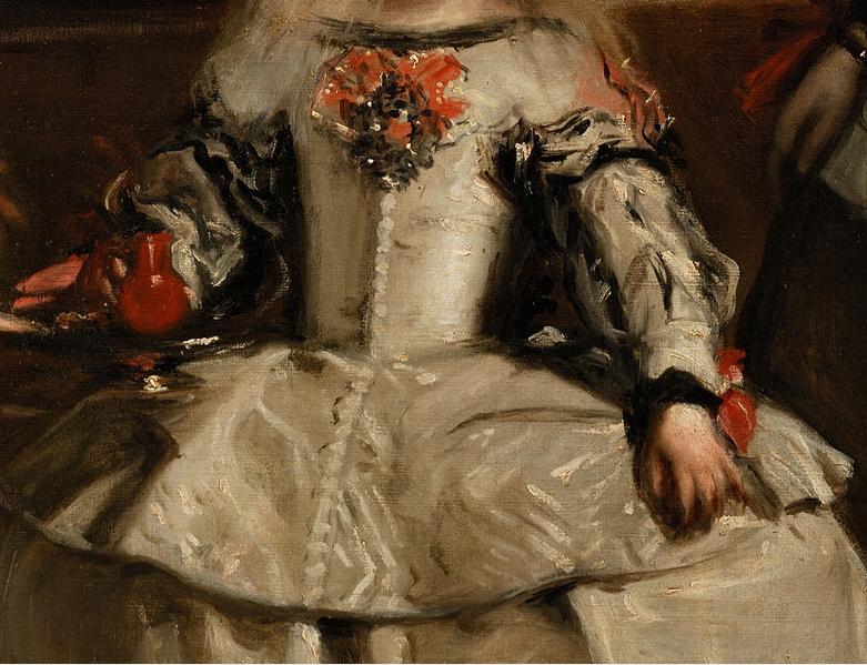 """Detalle de """"Las Meninas"""" de Diego Velázquez donde se puede apreciar el trazo en el vestido de la infanta Margarita."""