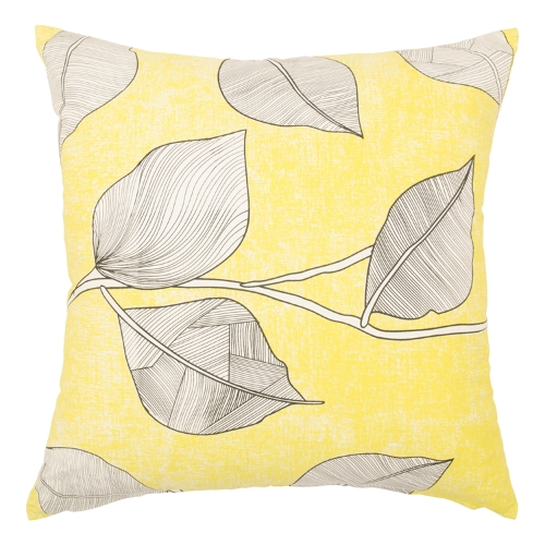 Yellow Illustrated Leaf Cushion, @Home - R239
