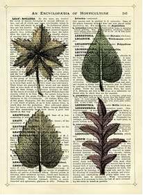 Newspaper Print Art Leaves