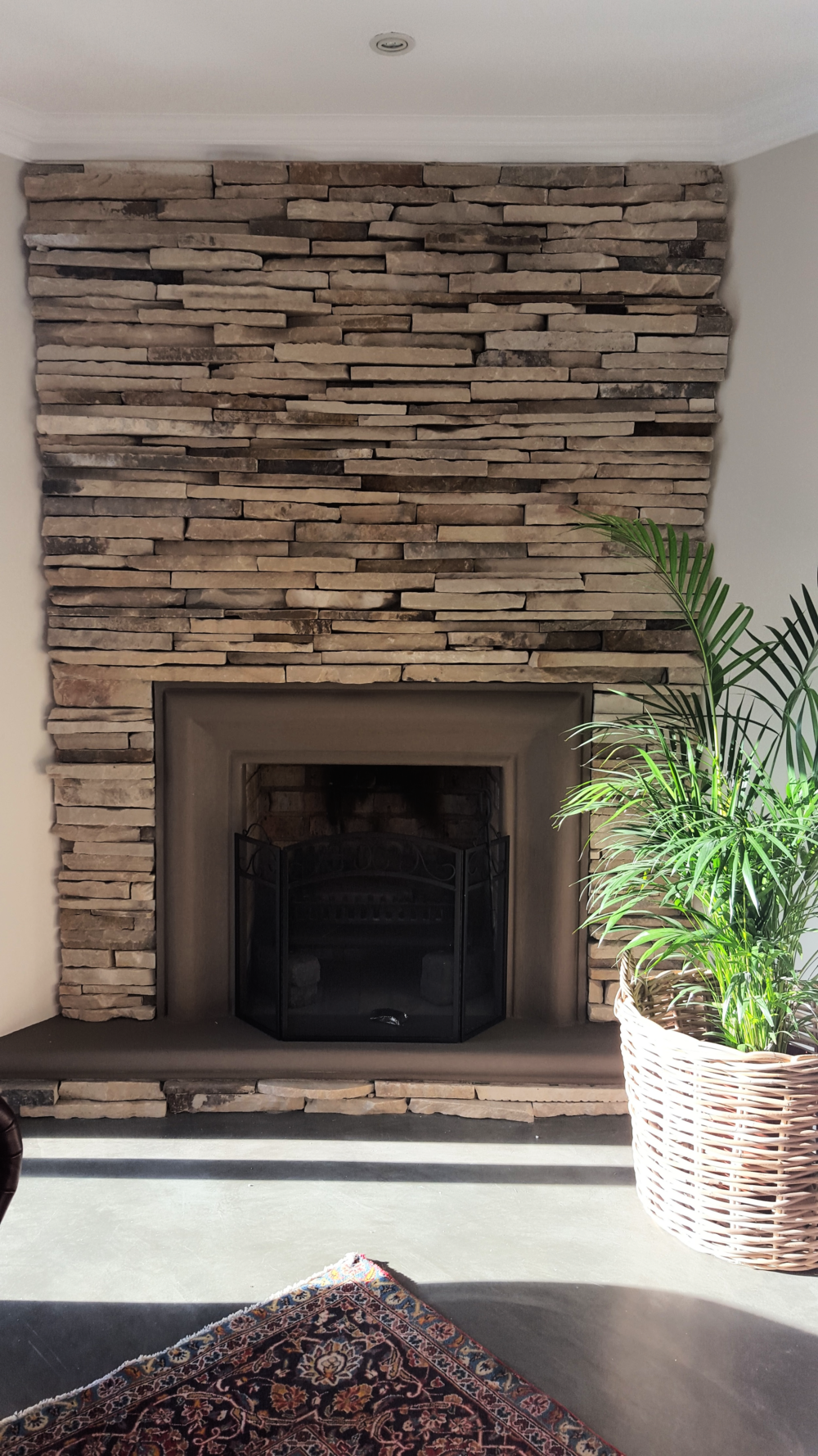 Sand Stone Clad Fireplace
