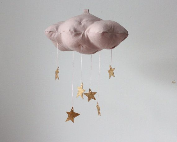 Dusty Pink and Gold Star Baby Mobile