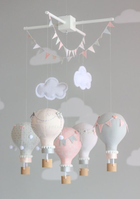 Grey and Dusty Pink Hot Air Balloon Baby Mobile