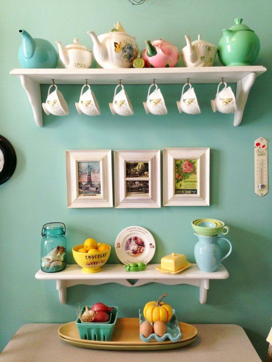 vintage tea cups and pots, tea station, turquoise