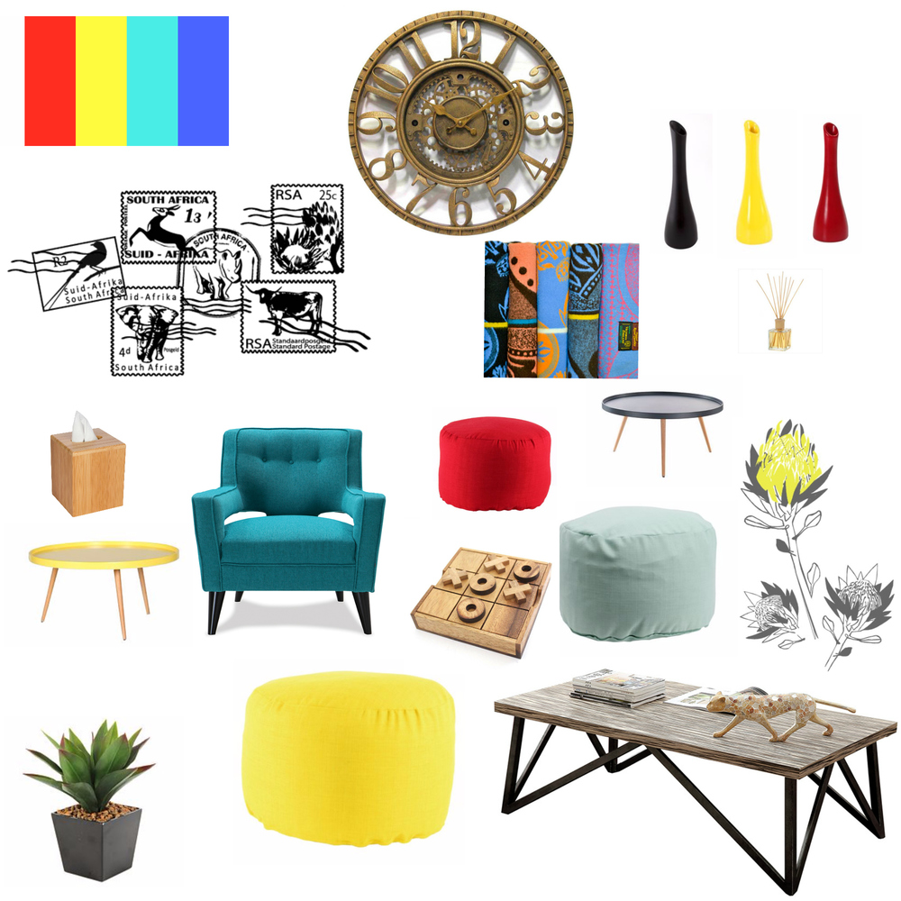 Colourful chill room mood board, senses