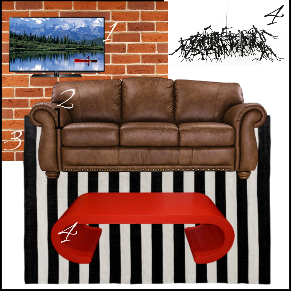 Man Cave Mood Board with chesterfield, TV, rug, chandelier, black, white, red, brick wall