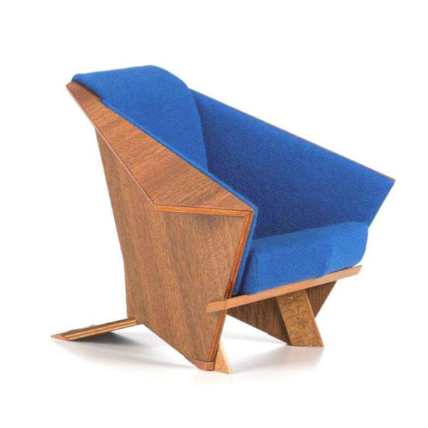 The Original Blue and Cherry Plywood Veneer Origami Chair by Frank Lloyd Wright.