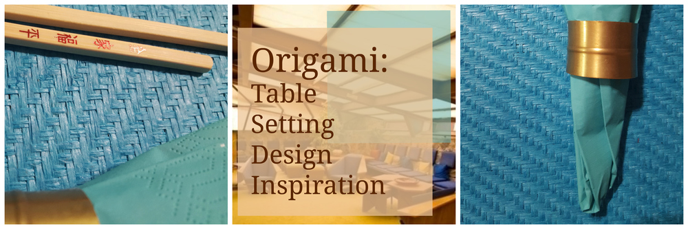 Origami Chair and Architecture Inspired Table Setting in Blue and Brown