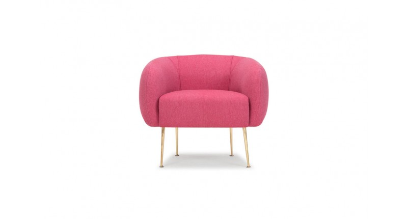 Bright raspberry pink chair with gold legs for baby room