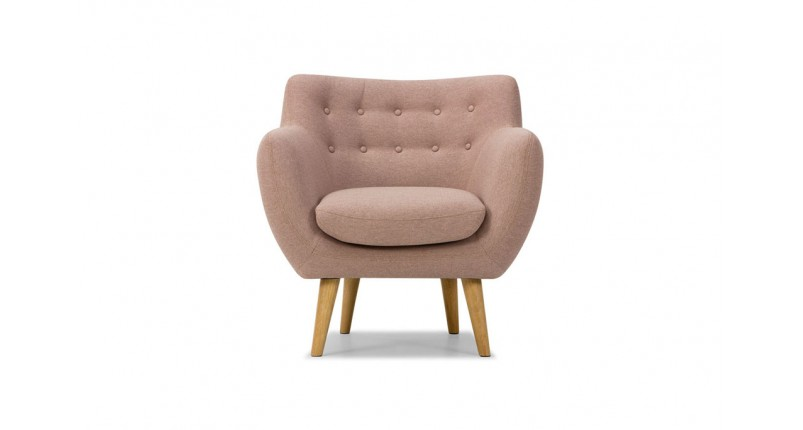 blush pink Scandinavian deep button chair for baby room